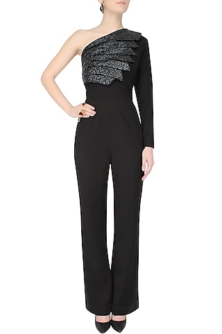 Black One Shoulder Flared Jumpsuit by AAWA By Aastha Wadhwa