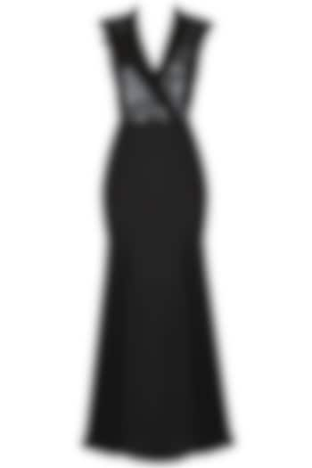 Black Cap Sleeves Stand Up Collar Gown by AAWA By Aastha Wadhwa