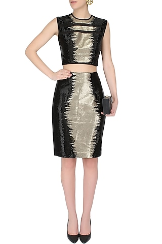 Black And Gold Cutdana Handcrafted Crop Top With Matching Pencil Skirt by AAWA By Aastha Wadhwa