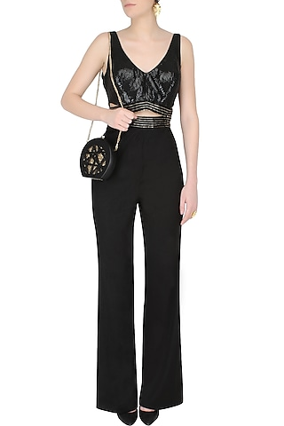 Black Cutout Embroidered Flared Jumpsuit by AAWA By Aastha Wadhwa