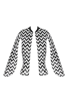 Black Handcrafted Chevron Pattern Cape Jacket by AAWA By Aastha Wadhwa