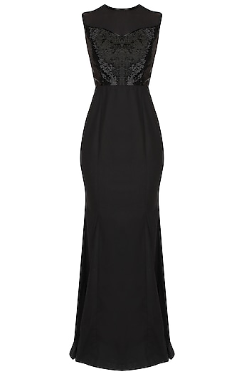 Black Sleeveless Evening Gown With Floor Sweeping Folds by AAWA By Aastha Wadhwa