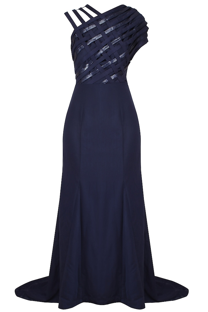 Blue Cross Over Evening Gown With Floor Sweeping Folds by AAWA By Aastha Wadhwa