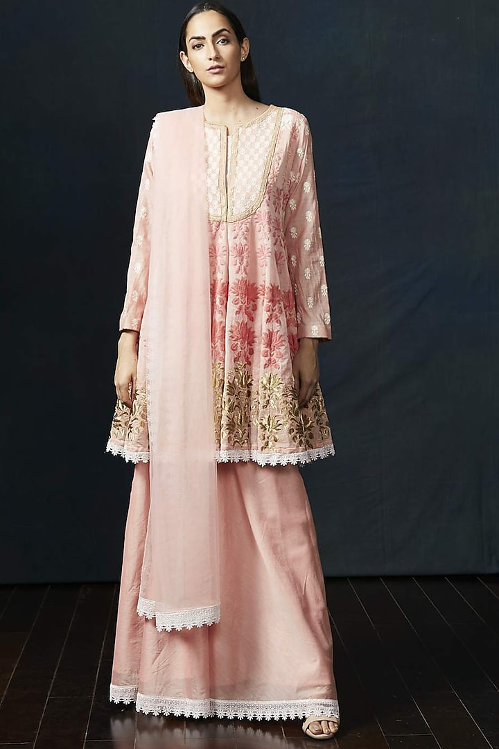 Peach Embroidered Anarkali Set by Aashima Behl