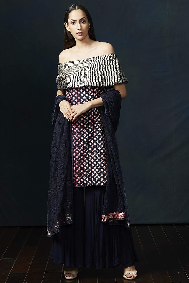 Navy Blue Embroidered Sharara Set by Aashima Behl
