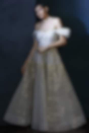 White Off Shoulder Organza Gown by Aashima Behl