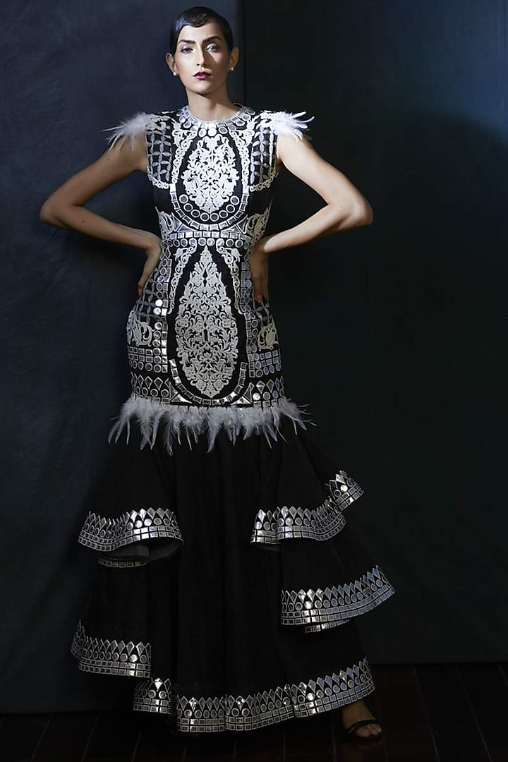 Black Embroidered Gown by Aashima Behl