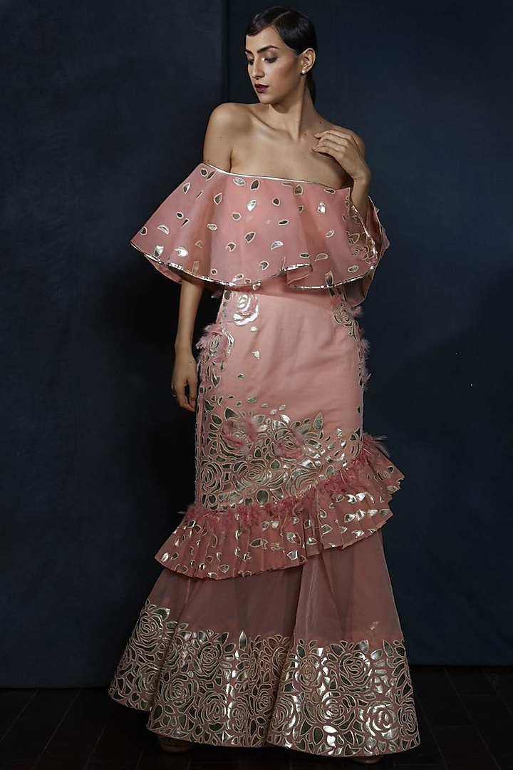Rose Pink Floral Gown by Aashima Behl
