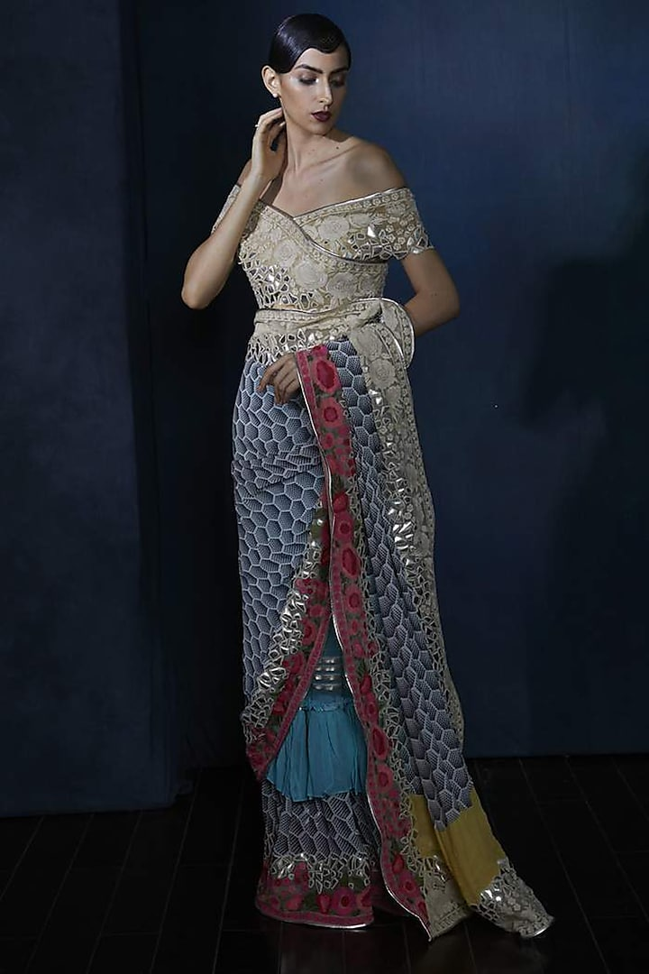 Multi Colored Embroidered Saree Set by Aashima Behl