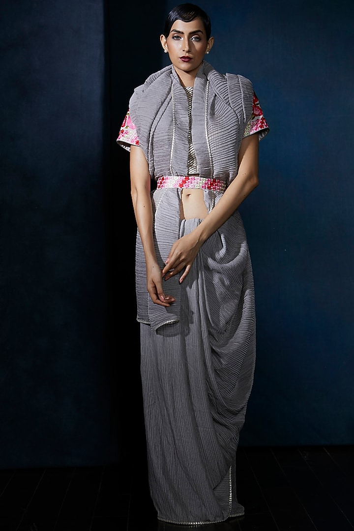 Grey Embroidered Saree Set by Aashima Behl