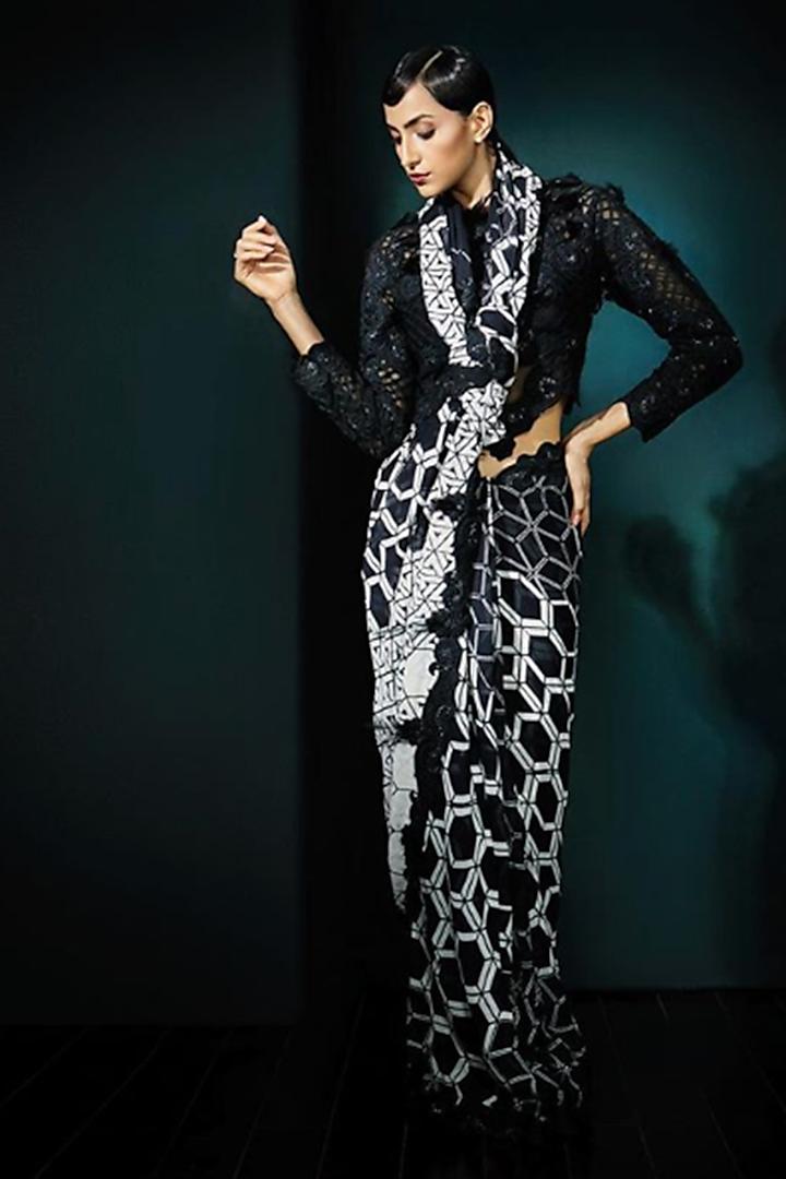 Black Printed Saree Set by Aashima Behl
