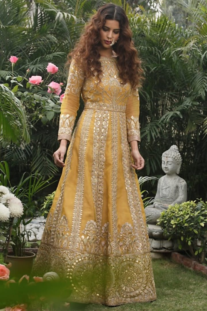 Mustard Embroidered Gown by Aashima Behl
