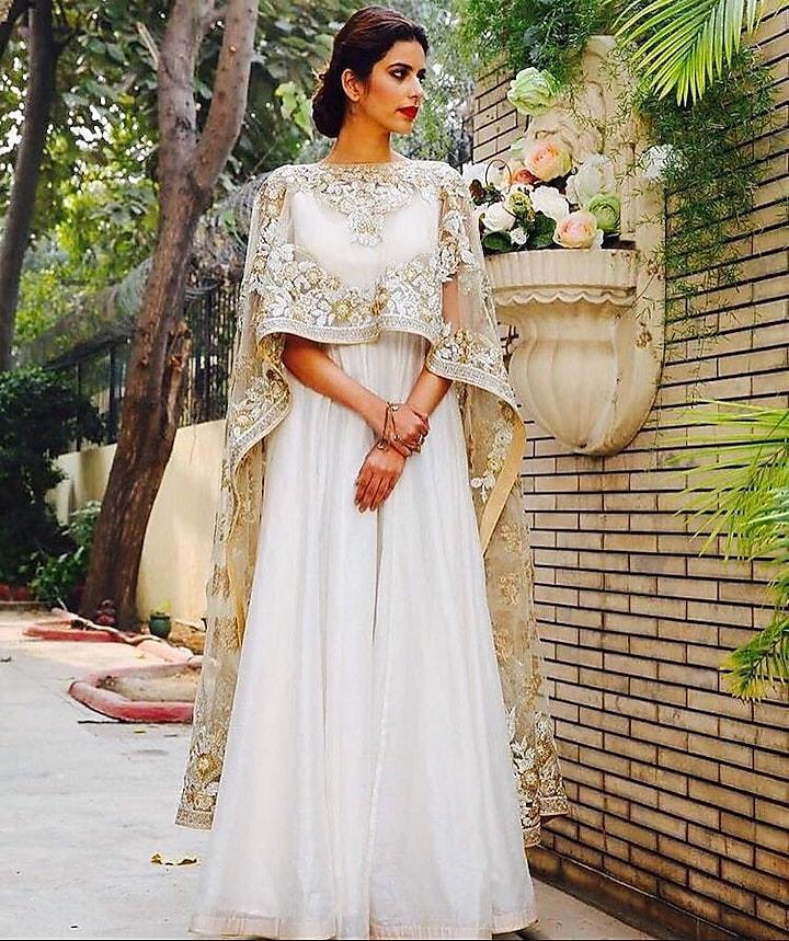White & Gold Embroidered Anarkali Set by Aashima Behl
