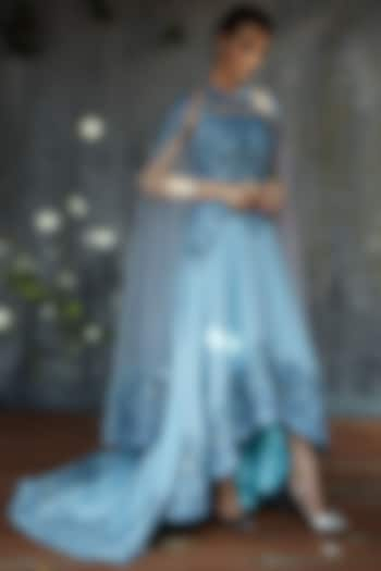 Cobalt Blue Gown With Cape by Aashima Behl