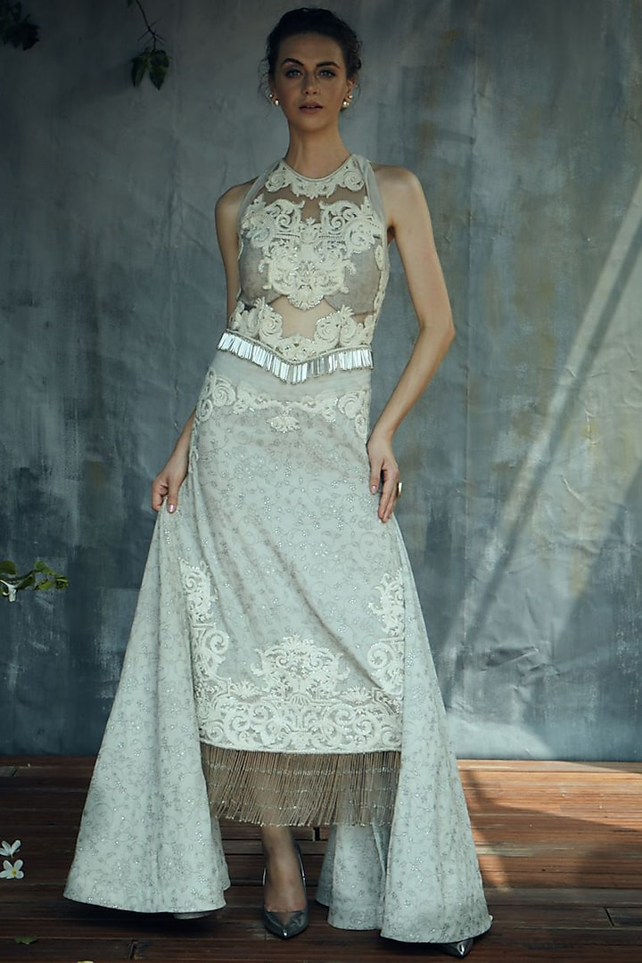 Grey High-Low Gown With Tassels by Aashima Behl