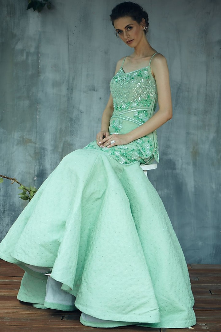 Mint Green Embroidered Gown by Aashima Behl