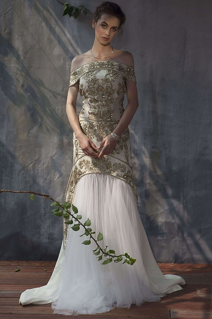 Ivory Embroidered Gown by Aashima Behl