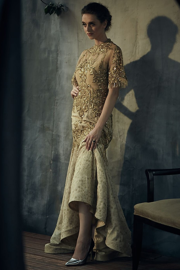 Gold Embroidered Gown by Aashima Behl