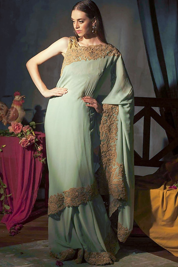 Sage Green Embroidered Saree Set by Aashima Behl