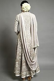 Grey & Beige Embroidered Kalidar Anarkali Set by Abhishek Gupta