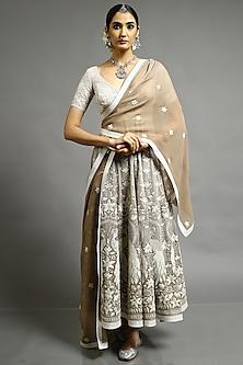 Grey & Beige Embroidered Anarkali Set by Abhishek Gupta