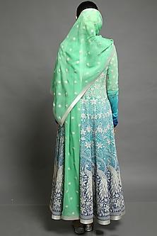Green & Cobalt Blue Embroidered Kalidar Anarkali Set by Abhishek Gupta
