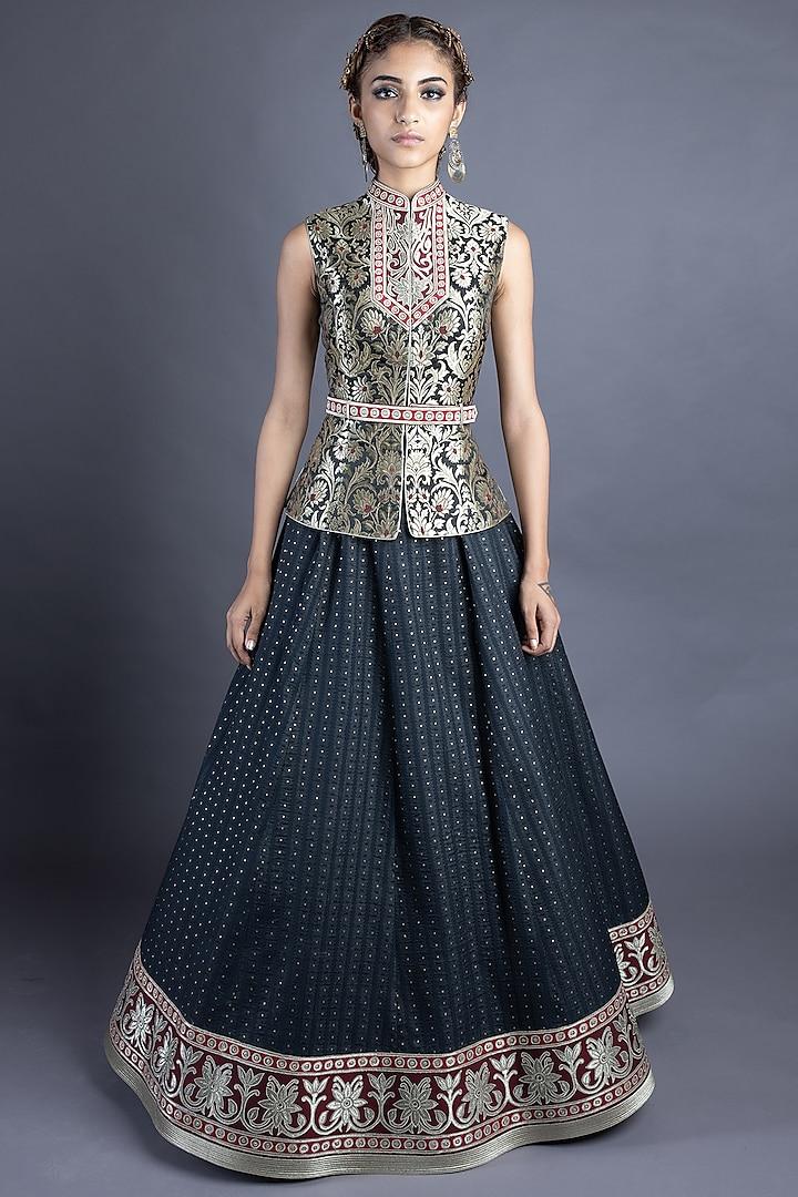 Black Chanderi Skirt Set by Abhishek Gupta