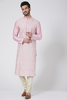 Blush Pink Cotton Silk Kurta Set by Abhishek Gupta Men