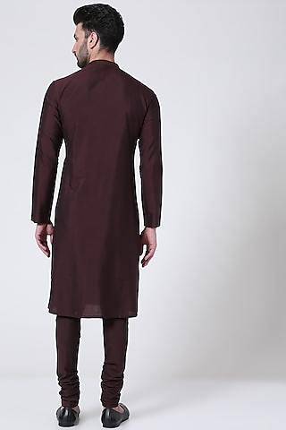 Brown Textured Kurta Set by Abhishek Gupta Men