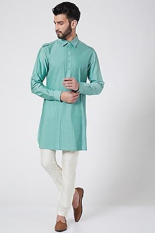 Aqua Blue Short Kurta by Abhishek Gupta Men
