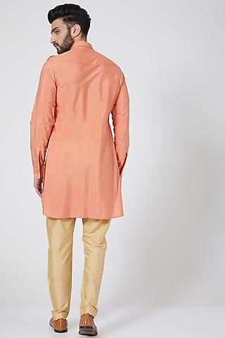 Orange Embroidered Short Kurta by Abhishek Gupta Men