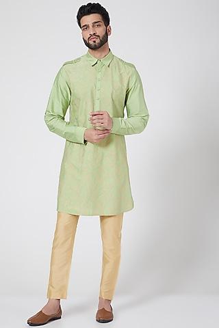 Lime Green Embroidered Short Kurta by Abhishek Gupta Men