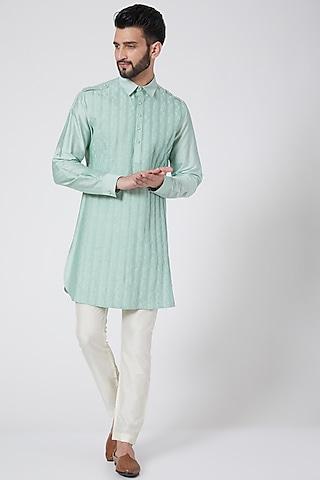 Mint Green Short Kurta by Abhishek Gupta Men