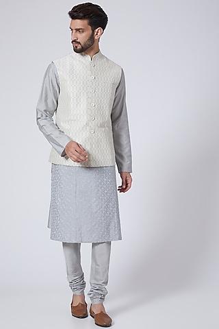 Cream Resham Embroidered Waistcoat by Abhishek Gupta Men