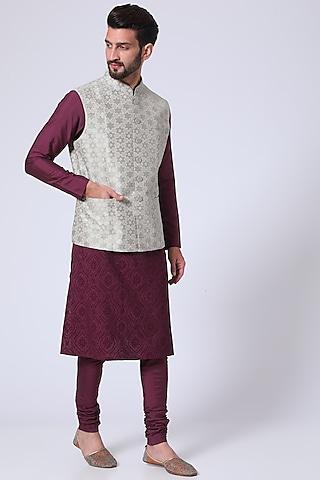 Cream Applique Embroidered Waistcoat by Abhishek Gupta Men