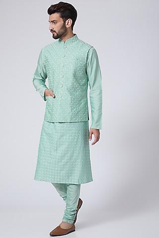 Mint Resham Embroidered Waistcoat by Abhishek Gupta Men