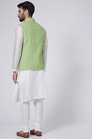 Lime Resham Embroidered Waistcoat by Abhishek Gupta Men