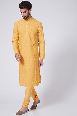 Mango Yellow Embroidered Kurta Set by Abhishek Gupta Men