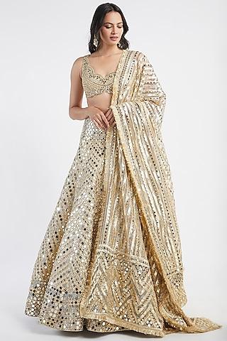 Gold Mirror Hand Embroidered Lehenga Set by Abhinav Mishra
