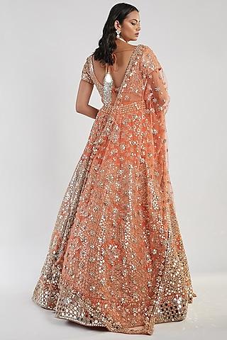 Orange Hand Embroidered Lehenga Set by Abhinav Mishra