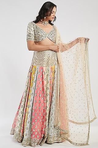 Multi Colored Mirror Hand Embroidered Lehenga Set by Abhinav Mishra