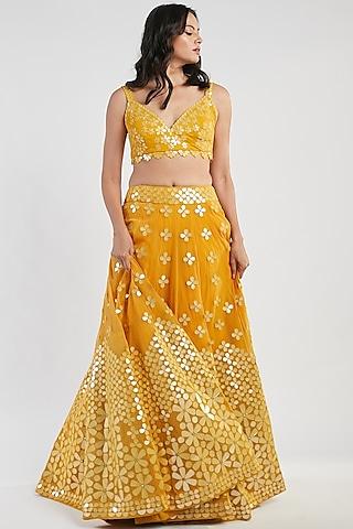 Yellow Hand Embroidered Lehenga Set by Abhinav Mishra
