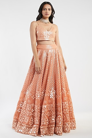 Orange Mirror Hand Embroidered Lehenga Set by Abhinav Mishra
