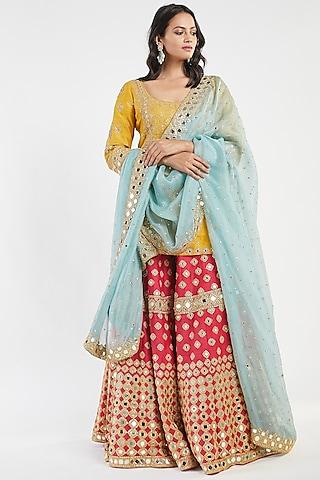 Rani Pink & Yellow Hand Embroidered Sharara Set by Abhinav Mishra