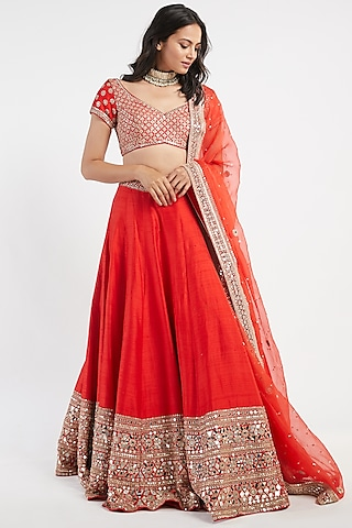 Red Hand Embroidered Lehenga Set by Abhinav Mishra