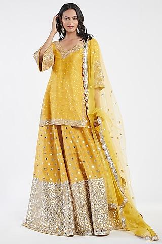 Yellow Mirror Hand Embroidered Lehenga Set by Abhinav Mishra