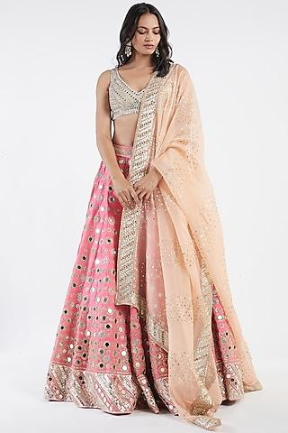 Pink Hand Embroidered Lehenga Set by Abhinav Mishra