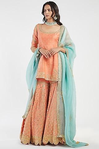 Orange & Blue Hand Embroidered Sharara Set by Abhinav Mishra