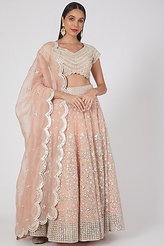 Nude Pink Embellished Lehenga Set by Abhinav Mishra