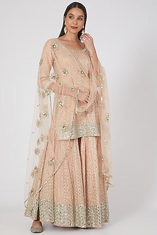 Pink Embellished Sharara Set by Abhinav Mishra